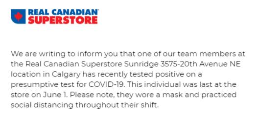 Important Update from Sunridge Superstore